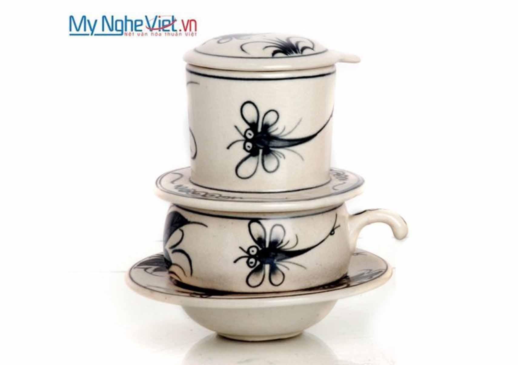 Phin cà phê gốm vẽ chuồn & cúc ly thấp MNV-CF003-0-2