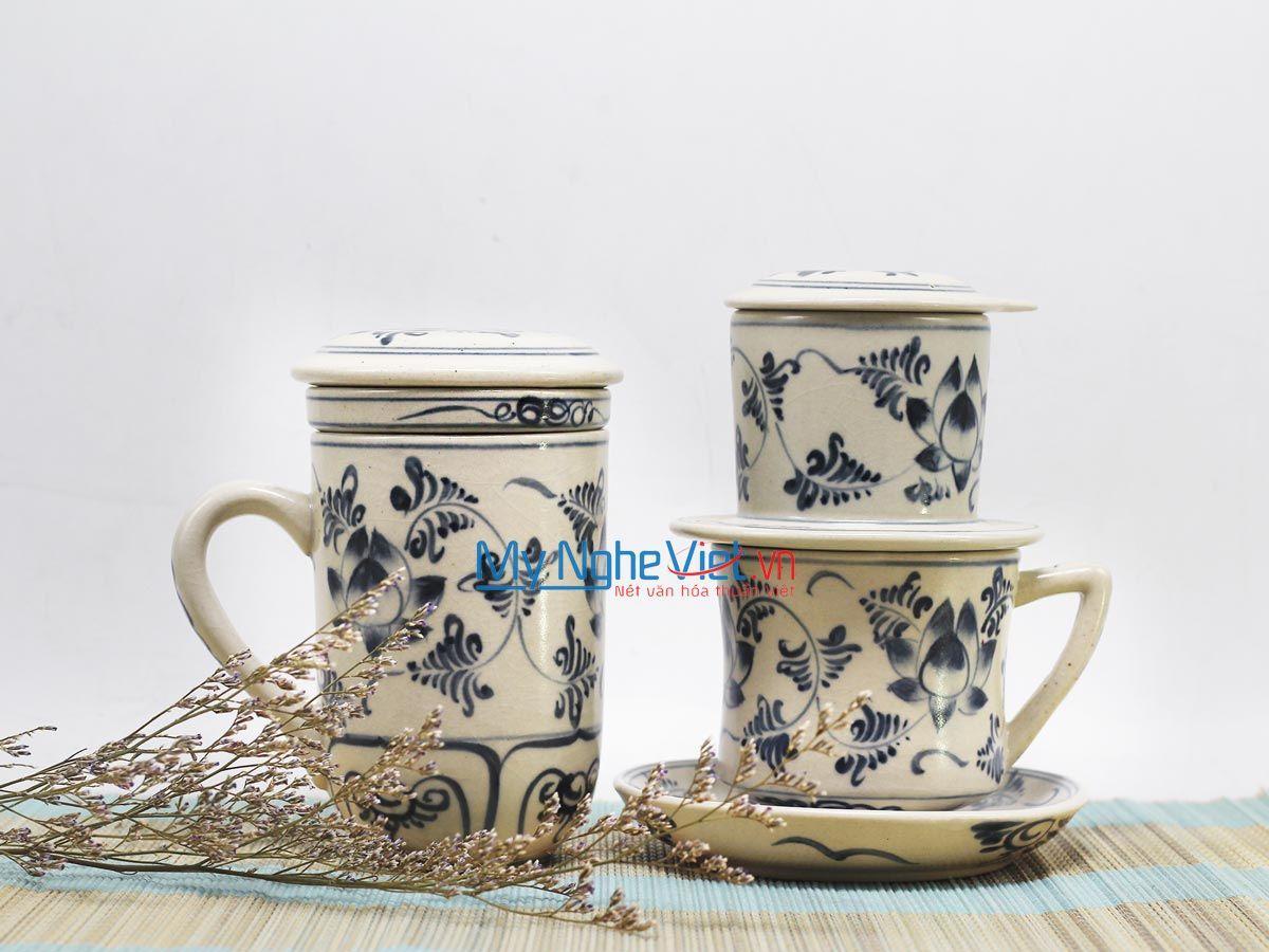 Combo Ly Lọc Trà + phin cafe trung vẽ sen MNV-CBF08