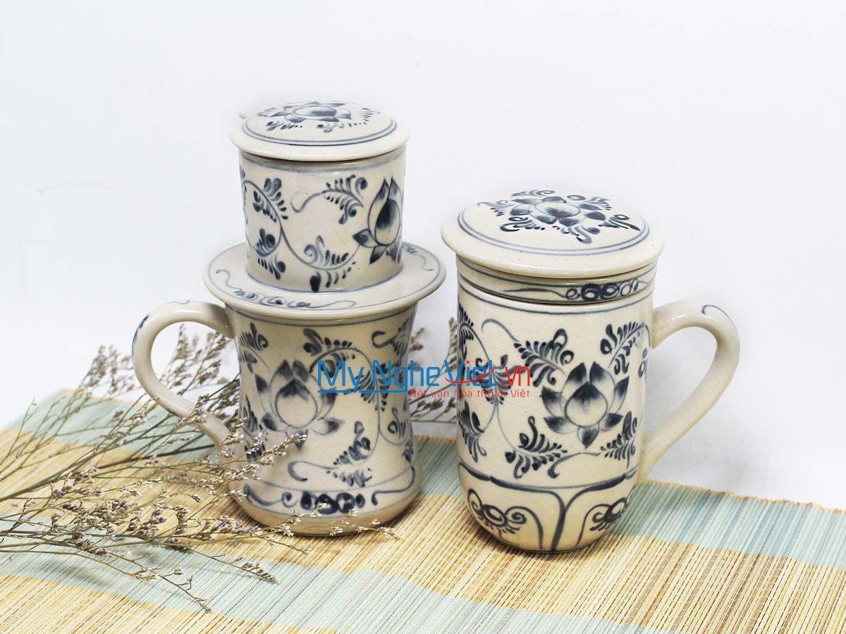 Combo Ly Lọc Trà + phin cafe cao vẽ sen MNV-CBF07