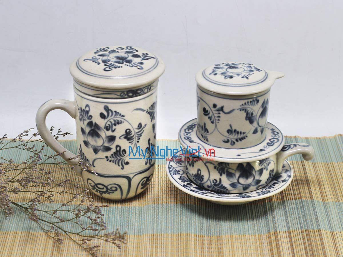 Combo Ly Lọc Trà + phin cafe thấp vẽ sen MNV-CBF09