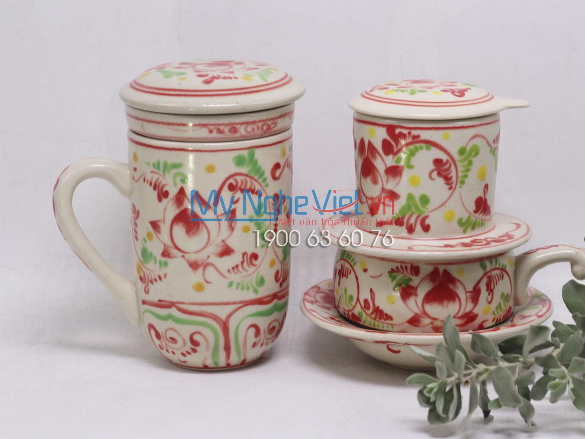 Combo ly lọc trà + phin cafe thấp vẽ sen MNV-CBF01
