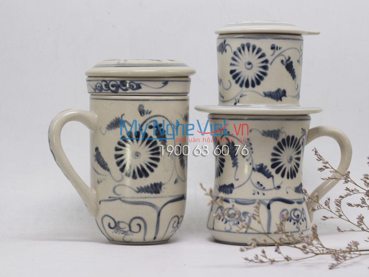 Combo ly lọc trà + phin cafe Cao vẽ cúc MNV-CBF04