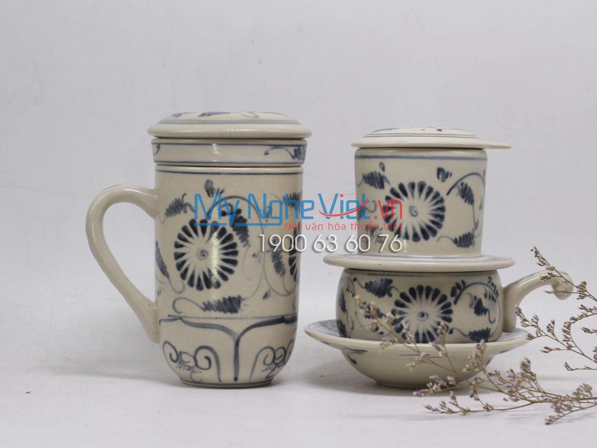 Combo ly lọc trà + phin cafe thấp vẽ cúc MNV-CBF05
