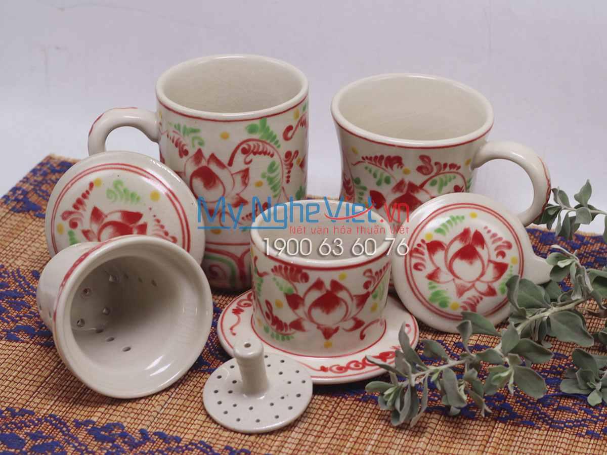 Combo ly lọc trà + phin cafe Cao vẽ sen MNV-CBF03
