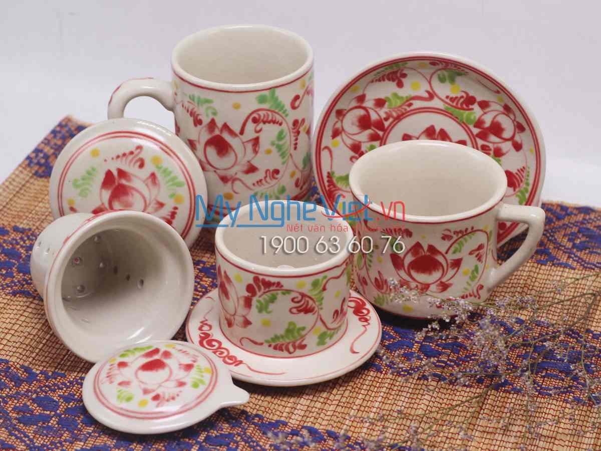 Combo ly lọc trà + phin cafe trung vẽ sen MNV-CBF02